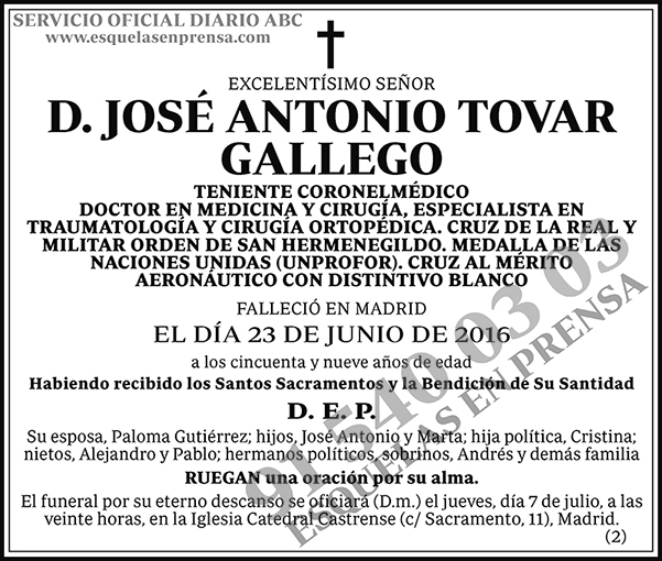 José Antonio Tovar Gallego